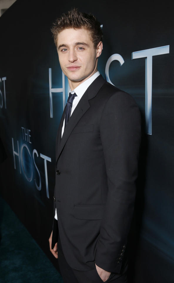 "Max Irons arrives at the LA premiere of ""The Host"" at the ArcLight Hollywood on Tuesday, March 19, 2013 in Los Angeles. (Photo by Todd Williamson/Invision/AP)"
