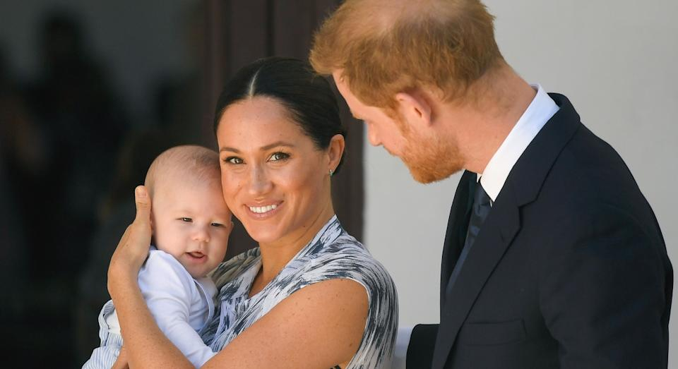 Harry and Meghan with their son Archie at the Desmond & Leah Tutu Legacy Foundation in Cape Town, South Africa, September 25, 2019 (Getty)