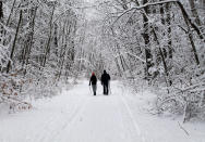 People hike the snow-covered path at Wompatuck State Park, in Hingham, Mass., on Saturday, Feb. 20, 2021. The winter storms that have wreaked havoc in large swaths of the country recently can also damage trees and shrubs. (Erin Minichiello via AP)