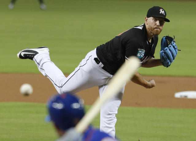 Miami Marlins starting pitcher Dan Straily throws to a New York Mets batter during the first inning during a baseball game in Miami, Saturday, Aug. 11, 2018. (AP Photo/Joe Skipper)