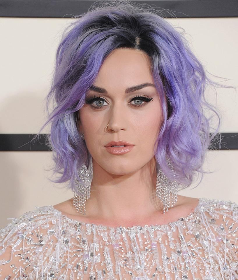 <p>Perry is a hair chameleon, and this soft pastel play on purple was one her best hair looks ever. (Photo: Getty Images) </p>