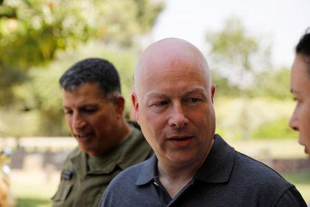 FILE PHOTO - Jason Greenblatt, U.S. President Trump's Middle East envoy, arrives to visit Kibbutz Nahal Oz, just outside the Gaza Strip