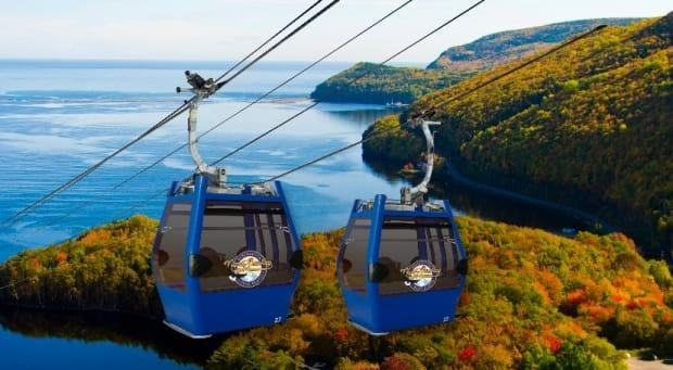 A rendering of the new gondola at Cape Smokey, near Ingonish on Cape Breton Island.  A July 1 launch date is set, with other attractions to be built over the coming year. (Cape Smokey Holding - image credit)