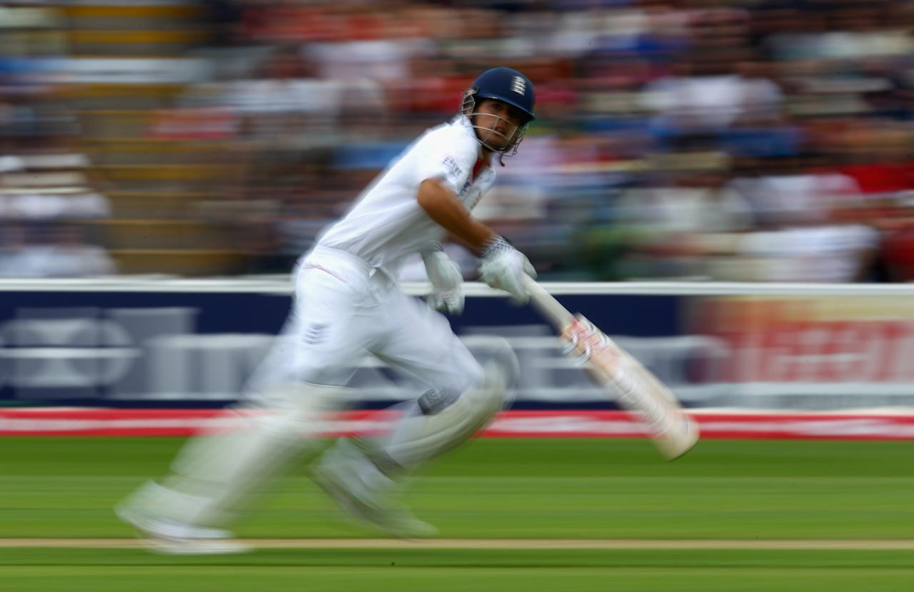BIRMINGHAM, ENGLAND - AUGUST 12:  Alastair Cook of England runs between the wickets during day three of the 3rd npower Test at Edgbaston on August 12, 2011 in Birmingham, England.  (Photo by Richard Heathcote/Getty Images)