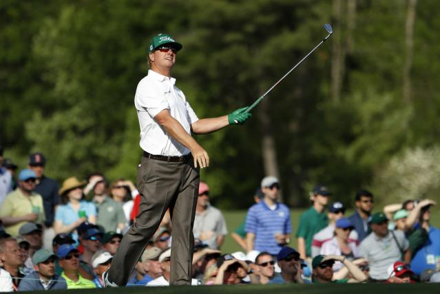 Charley Hoffman of the U.S. watches his tee shot on the 12th during second round play of the 2018 Masters golf tournament at the Augusta National Golf Club in Augusta, Georgia, U.S., April 6, 2018. REUTERS/Jonathan Ernst