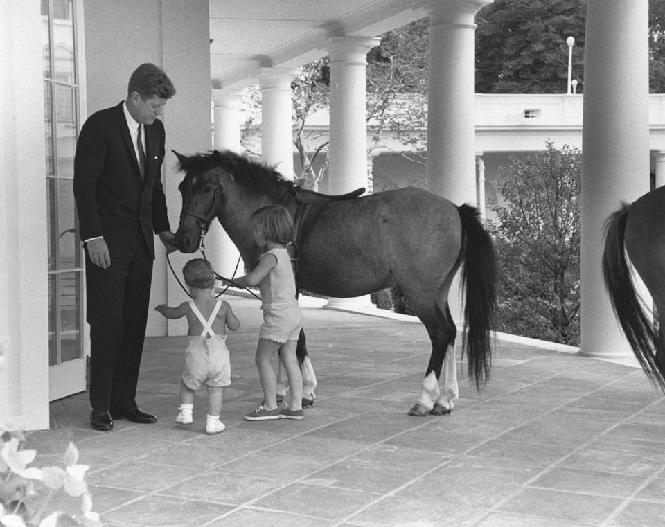 <p>Outside the White House's Oval Office, President Kennedy and his children, John and Caroline, play with their pony, Macaroni.</p>