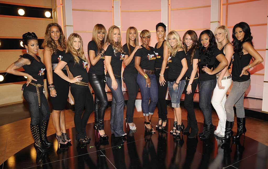 """Keyshia Cole, Leona Lewis, Fergie, Ciara, Mariah Carey, Beyonce Knowles, Mary J. Blige, Rihanna, Carrie Underwood, Miley Cyrus, Ashanti, Natasha Bedingfield, and Nicole Scherzinger donned matching """"Stand Up to Cancer"""" tees for the charity performance. Kevin Mazur/<a href=""""http://www.wireimage.com"""" target=""""new"""">WireImage.com</a> - September 5, 2008"""