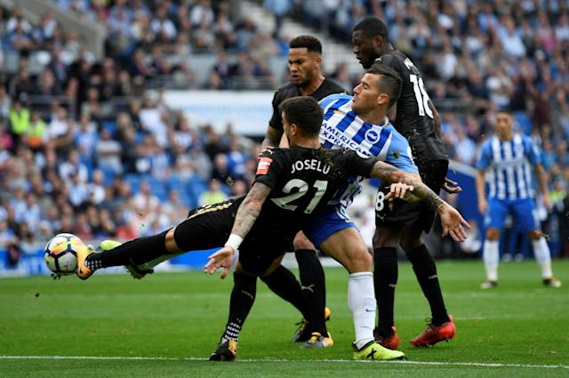 "<p>Soccer Football – Premier League – Brighton & Hove Albion vs Newcastle United – Amex Stadium, Brighton, Britain – September 24, 2017 Brighton's Tomer Hemed in action with Newcastle United's Joselu, Chancel Mbemba and Jamaal Lascelles Action Images via Reuters/Tony O'Brien EDITORIAL USE ONLY. No use with unauthorized audio, video, data, fixture lists, club/league logos or ""live"" services. Online in-match use limited to 75 images, no video emulation. No use in betting, games or single club/league/player publications. Please contact your account representative for further details. </p>"