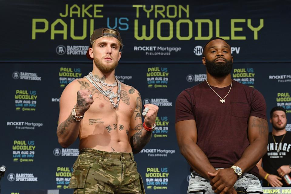 Kake Paul and Tyron Woodley pose during a press conference at the Hilton Cleveland Downtown prior to their August 29 fight on August 26, 2021 in Cleveland, Ohio.