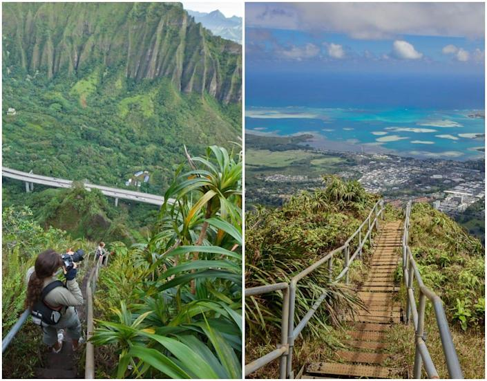 An image of a hiker taking a photo while walking the Haiku Stairs (left) and an image of the view from the top of the stairs (right).