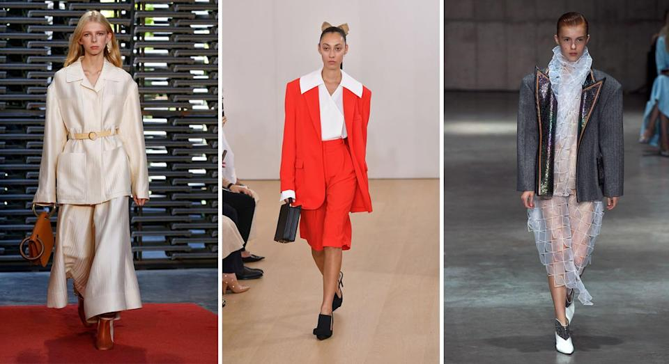 <p>The eighties proved a major source of reference this season with Emilia Wickstead sending models down the runway in bold short suits (complete with supersized collars and shoulder pads). While Roksanda was more subtle in its approach with silky co-ords clinched in at the waist – very 'Pretty Woman'. <em>[Photo: Getty]</em> </p>