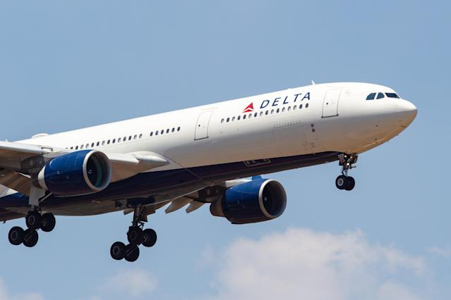 Delta Air Lines reportedly refused to allow a trained service dog onboard a flight because it looked like a pit bull. (Photo by Nicolas Economou/NurPhoto via Getty Images)