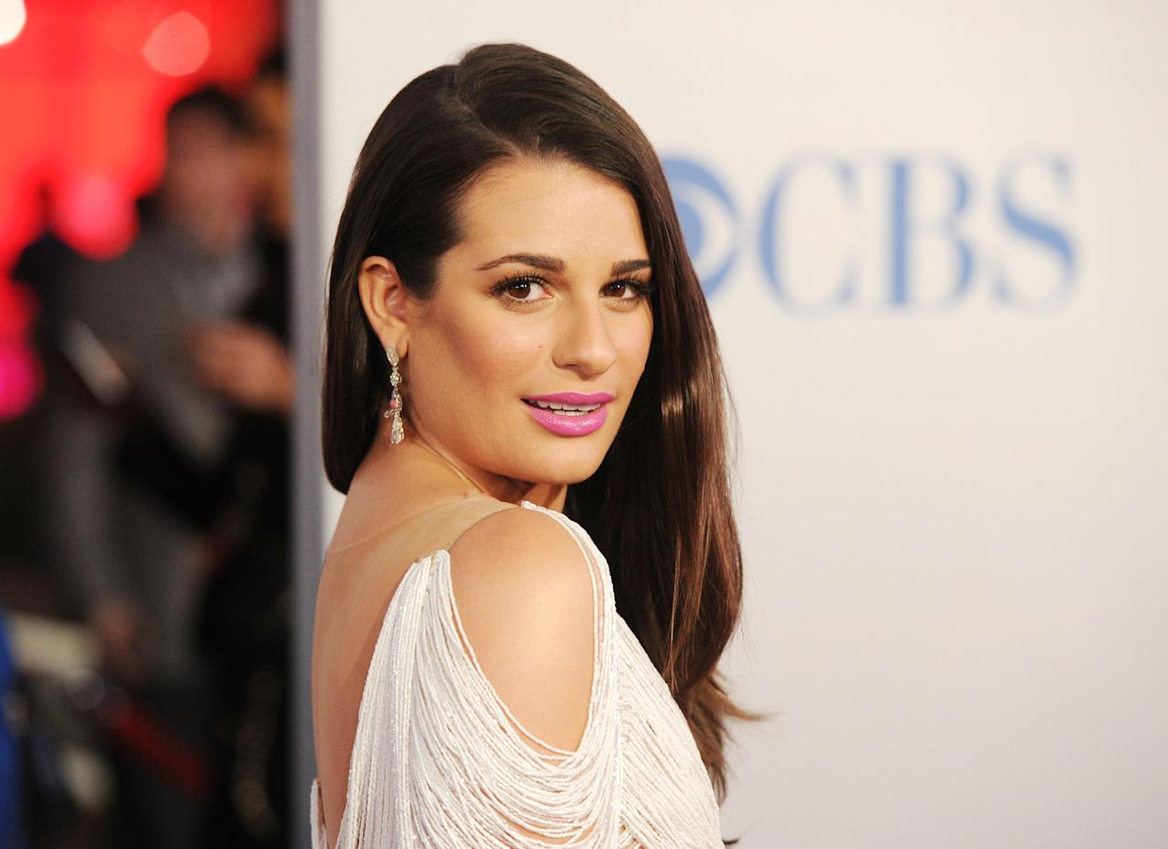 LOS ANGELES, CA - JANUARY 11:  Actress Lea Michele arrives at the 2012 People's Choice Awards held at Nokia Theatre L.A. Live on January 11, 2012 in Los Angeles, California.  (Photo by Jason Merritt/Getty Images)