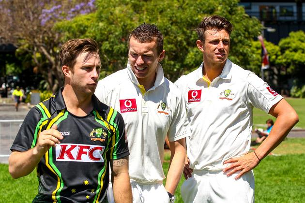 SYDNEY, AUSTRALIA - OCTOBER 15: Matthew Wade, Peter Siddle and James Pattinson watch on before the Cricket Australia season launch at Museum of Contemporary Art on October 15, 2012 in Sydney, Australia.  (Photo by Mark Nolan/Getty Images)