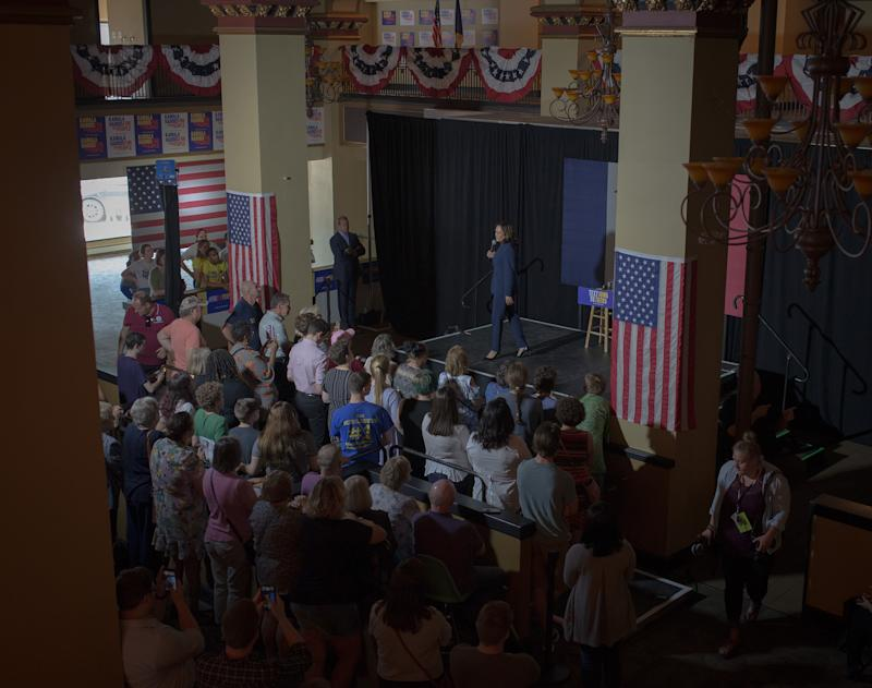 Harris speaks at her town hall in Waterloo, Iowa, on Sept. 20, 2019. | September Dawn Bottoms for TIME