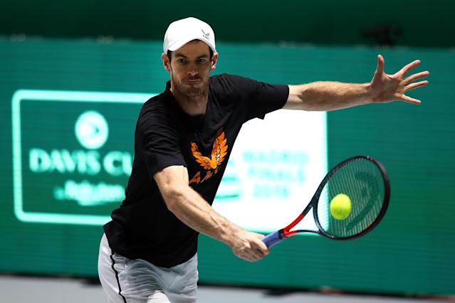 Andy Murray in action during a practice session. (Photo by Clive Brunskill/Getty Images for LTA)