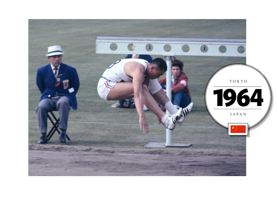 C.K. Yang, a long-jumper who represented China at the 1964 Olympic Games in Tokyo, wore a uniform that more resembled team USA, with red, white and blue stripes. (Getty Images)