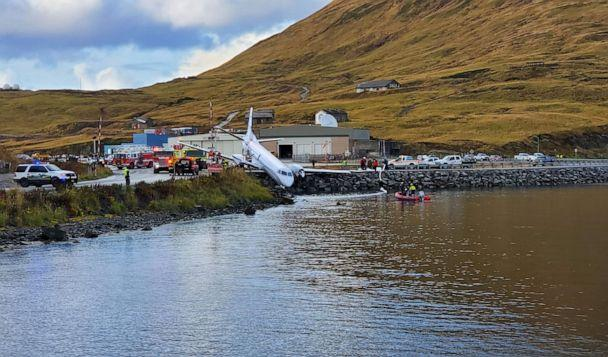 PHOTO: A commuter plane that crashed near the airport in a small town near the Bering Sea, Oct. 17, 2019. The Peninsula Airways flight from Anchorage to Dutch Harbor came to a halt just short of the water. (Courtesy Jesse Ortiz)