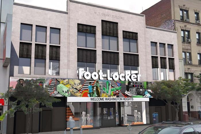 Foot Locker store on ground floor of three-story building as seen from street.