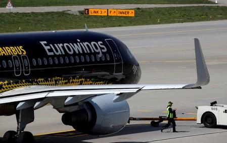 FILE PHOTO: An Airbus A320-214 aircraft of German Eurowings airline is seen at Zurich airport