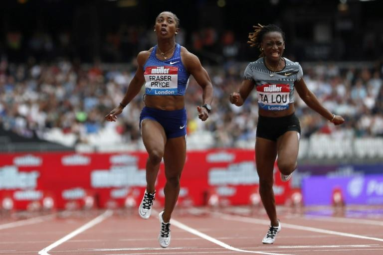 Jamaica's Shelly-Ann Fraser-Pryce wins the women's 100 metres at the London Anniversary Games (AFP Photo/Adrian DENNIS)
