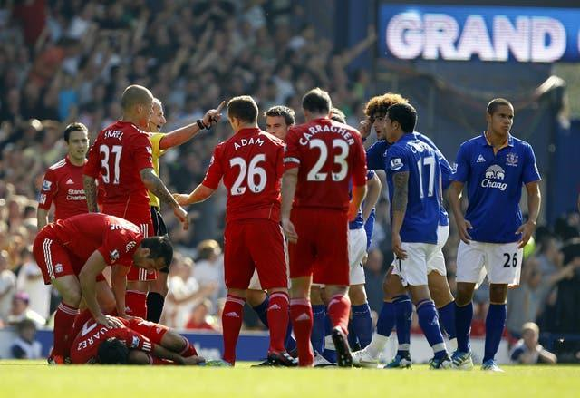 Jack Rodwell (right) was sent off against Liverpool