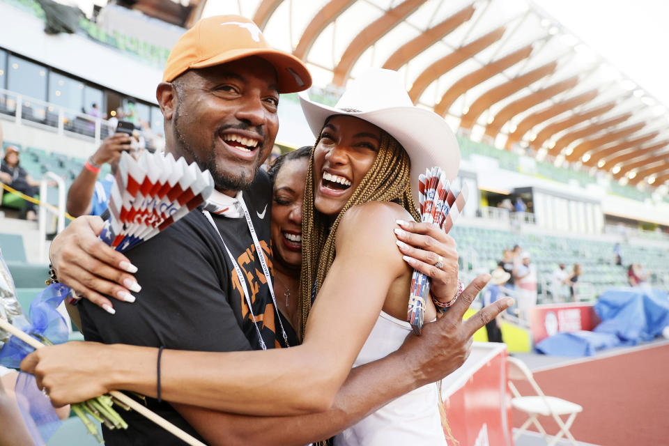 <p>Tara Davis, second place in the Women's Long Jump Final, celebrates with her mother Rayshon and father Ty Davis on day nine of the 2020 U.S. Olympic Track & Field Team Trials at Hayward Field on June 26, 2021 in Eugene, Oregon. (Photo by Steph Chambers/Getty Images)</p>