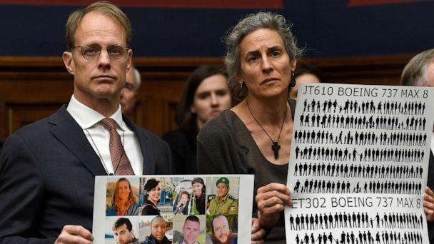 PHOTO: Michael Stumo and Nadia Milleron, right, parents of Samya Stumo, who died in the Ethiopian plane crash, listen during a House Transportation Committee hearing on Capitol Hill in Washington, D.C., May 15, 2019. (Susan Walsh/AP)