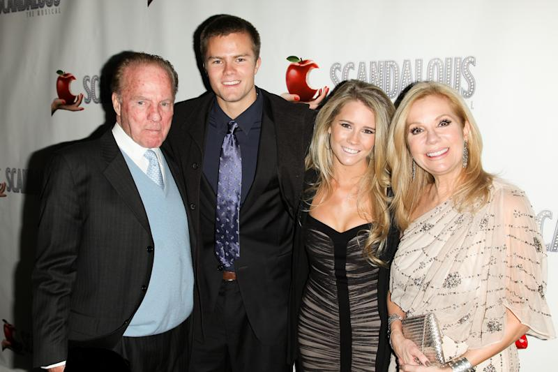"This image released by Starpix shows, from left, Frank Gifford, Cody Gifford, Cassidy Gifford, and Kathie Lee Gifford on opening night of Kathie Lee's musical ""Scandalous: The Life and Trials of Aimee Semple McPherson,"" at the Neil Simon Theatre, Thursday, Nov. 15, 2012 in New York. (AP Photo/Starpix, Andrew Toth)"
