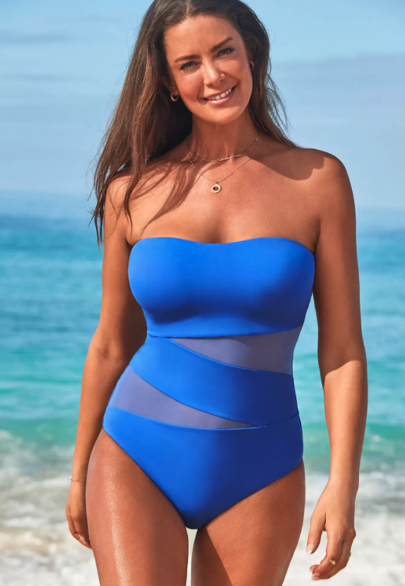 Mesh Wrap Bandeau One Piece Swimsuit. Image via Swimsuits for All.