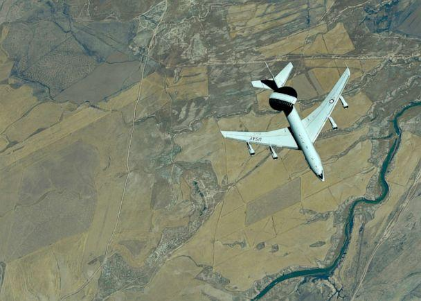 PHOTO: A U.S. Air Force E-3 Sentry (AWACS) descends after receiving fuel from a KC-10 Extender, assigned to the 908th Expeditionary Air Refueling Squadron, out of Al Dhafra Air Base, United Arab Emirates, Sept. 1, 2019. (Christopher Drzazgows/U.S. Air Forces)