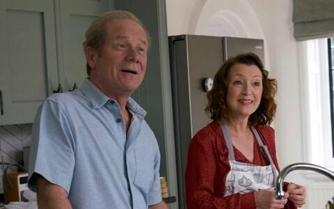 Sweet stuff: Peter Mullan and Lesley Manville in the Mum finale - Credit: Mark Johnson/BBC