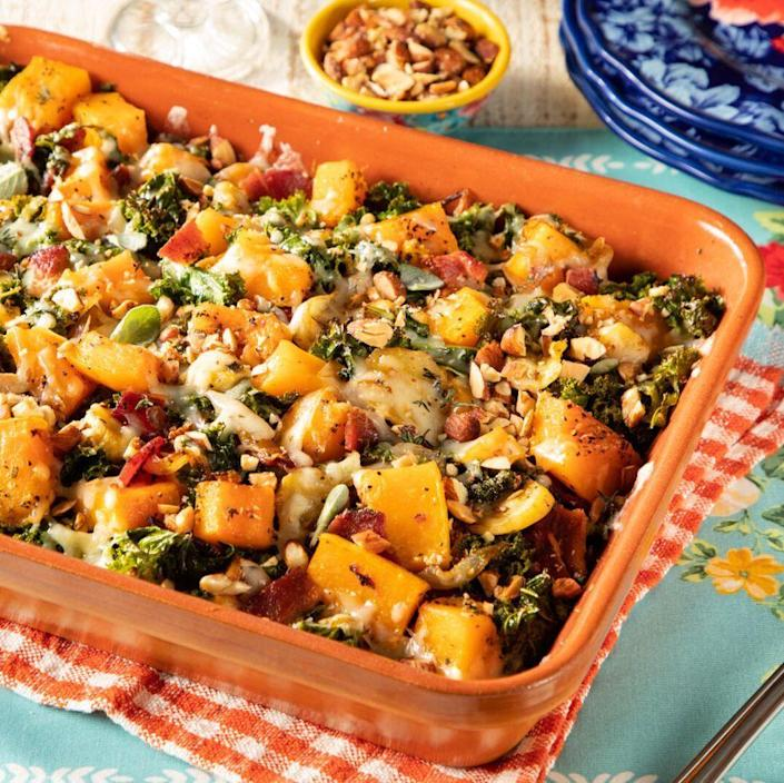 """<p>Naturally sweet butternut squash gets paired with savory ingredients, like cheese, caramelized onions, and salty bacon. It's a creative (and colorful) addition to your holiday table. </p><p><strong><a href=""""https://www.thepioneerwoman.com/food-cooking/recipes/a36982103/butternut-squash-casserole-recipe/"""" rel=""""nofollow noopener"""" target=""""_blank"""" data-ylk=""""slk:Get the recipe."""" class=""""link rapid-noclick-resp"""">Get the recipe.</a> </strong></p>"""