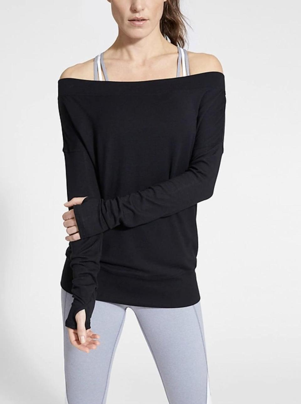 <p>You don't need to be a dancer to stock up on ballet-inspired gear. This <span>Athleta Studio Barre Sweatshirt</span> ($69) is perfect for any kind of workout, from yoga to reenacting that iconic water scene from <strong>Flashdance</strong>. </p>