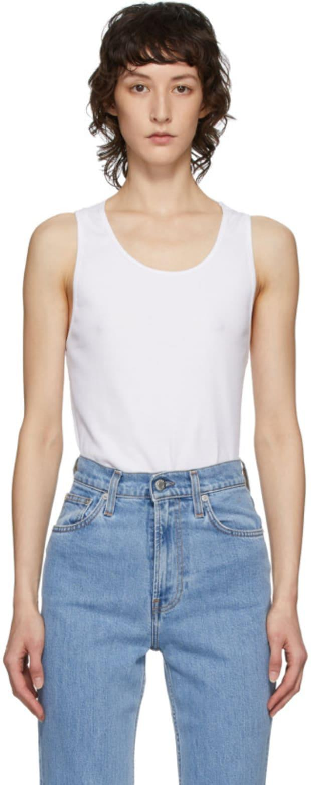 """<p>Telfar Whiter Halter Tank Top, $132 (from $210), <a href=""""https://rstyle.me/+igc7gIId6lsufo8wXFE-Cg"""" rel=""""nofollow noopener"""" target=""""_blank"""" data-ylk=""""slk:available here"""" class=""""link rapid-noclick-resp"""">available here</a>. </p>"""