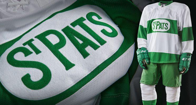 The Maple Leaf will wear these St. Pats jerseys March 18 against the Blackhawks. (Toronto Maple Leafs)