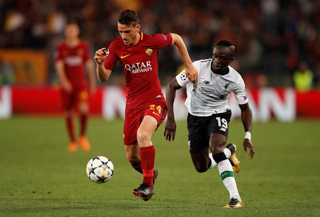 Soccer Football - Champions League Semi Final Second Leg - AS Roma v Liverpool - Stadio Olimpico, Rome, Italy - May 2, 2018 Roma's Alessandro Florenzi in action with Liverpool's Sadio Mane Action Images via Reuters/John Sibley