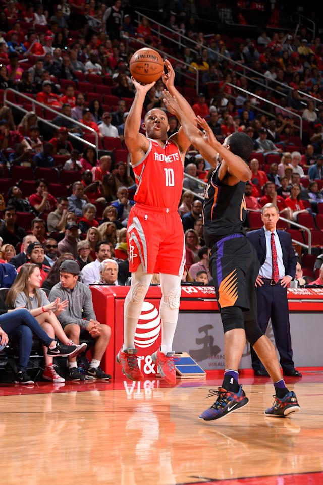 HOUSTON, TX - APRIL 7: Eric Gordon #10 of the Houston Rockets shoots the ball against the Phoenix Suns on April 7, 2019 at the Toyota Center in Houston, Texas. (Photo by Bill Baptist/NBAE via Getty Images)