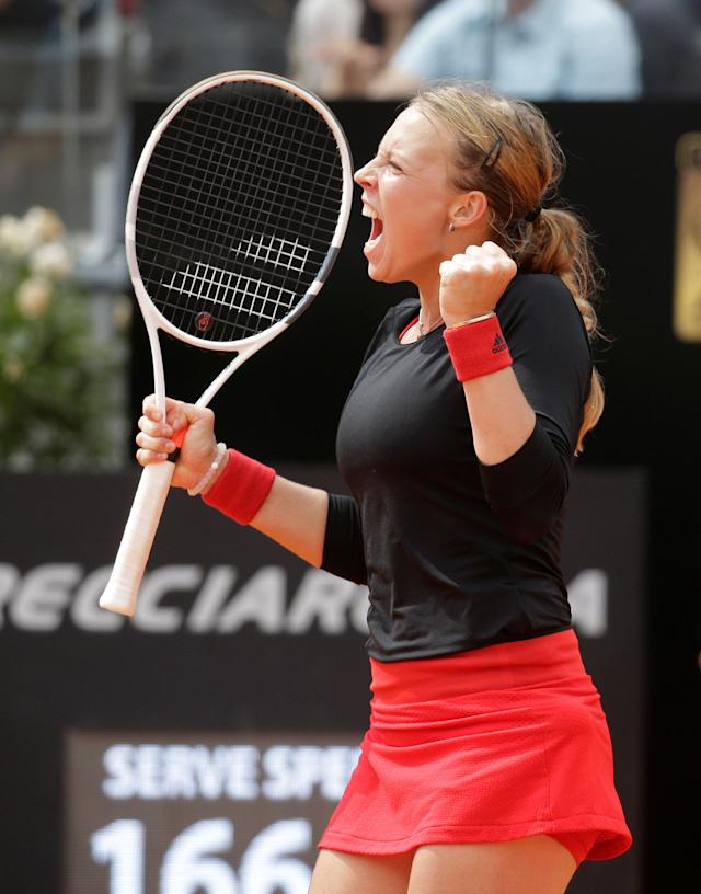 Tennis - WTA Premier 5 - Italian Open - Foro Italico, Rome, Italy - May 17, 2018 Estonia's Anett Kontaveit celebrates winning her third round match against Venus Williams of the U.S. REUTERS/Max Rossi