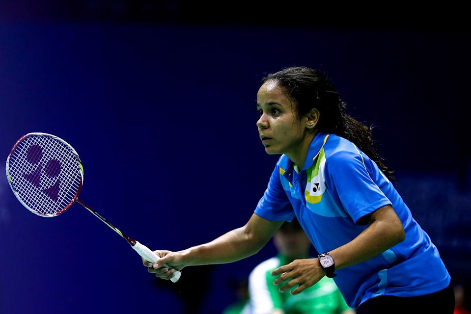 DONGGUAN, CHINA - MAY 12:  (CHINA OUT) Fabiana Silva of Brazil returns to Iris Wang of USA during Women's Singles match on day three of 2015 Sudirman Cup BWF World Mixed Team Championships on May 12, 2015 in Dongguan, Guangdong province of China.  (Photo by Visual China Group via Getty Images/Visual China Group via Getty Images)