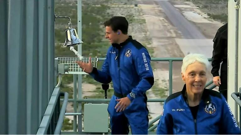 Dutch teen Oliver Daemen (L) and Wally Funk prepare to board the Blue Origin craft -- they are now the youngest and oldest astronauts ever