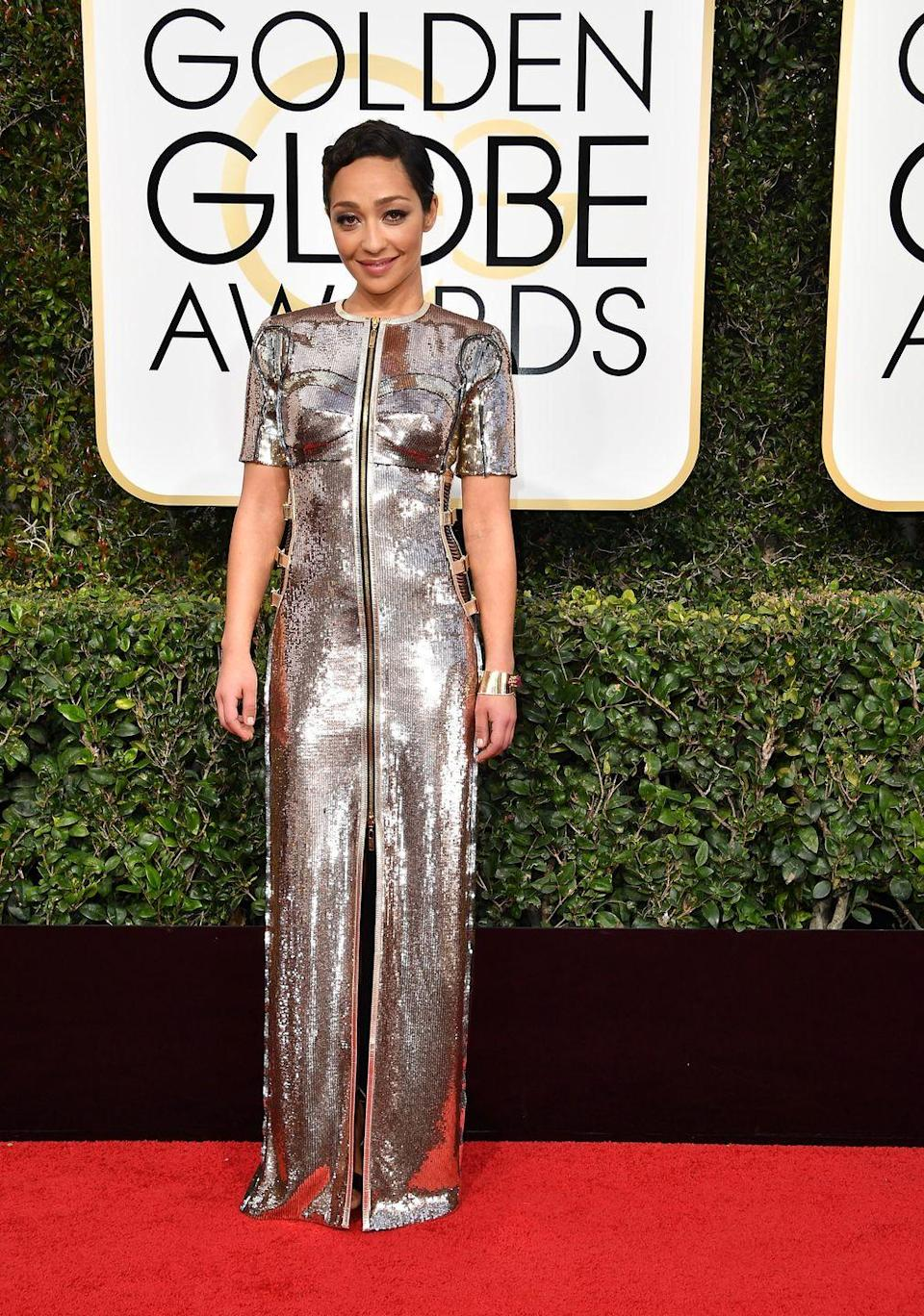<p>Ruth Negga turned heads in a Louis Vuitton dress bedecked in silver sequins in 2017. </p>