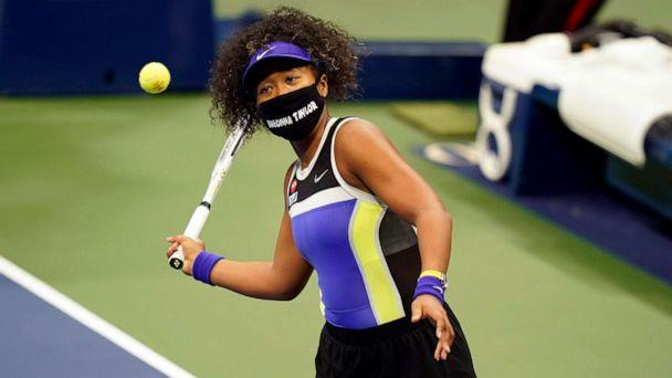 PHOTO: Naomi Osaka, of Japan, wears a mask in honor of Breonna Taylor as she celebrates after defeating Misaki Doi, of Japan, during the first round of the US Open tennis championships, Aug. 31, 2020, in New York. (Frank Franklin II/AP)