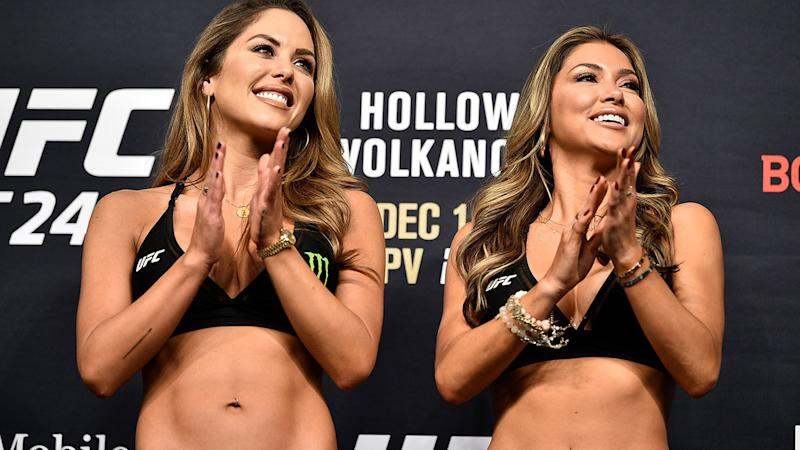 Octagon girls Brittney Palmer and Arianny Celeste, pictured here at a UFC event in 2019.