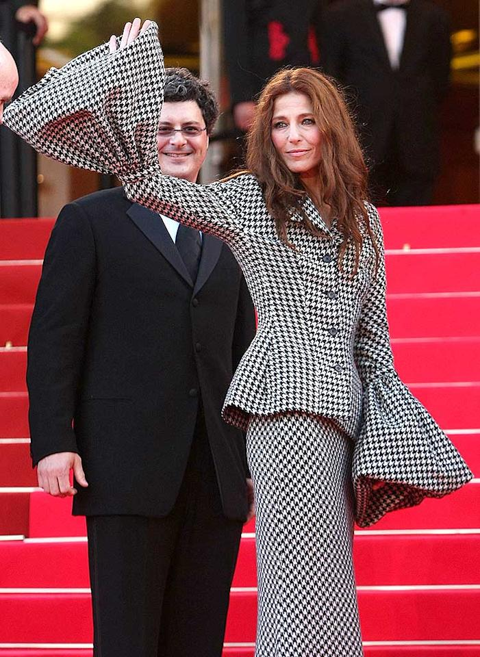 "Catherine Keener's heinous houndstooth suit, complete with bell-shaped sleeves, was undoubtedly one of the most frightful frocks to appear at this year's Cannes Film Festival. Sean Gallup/<a href=""http://www.gettyimages.com/"" target=""new"">GettyImages.com</a> - May 23, 2008"