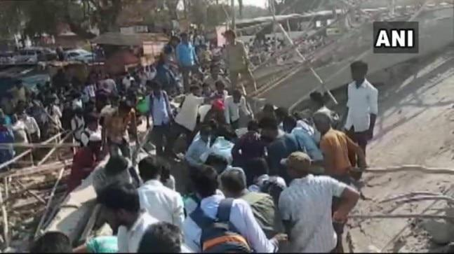 Two people were killed and several others trapped when a four-storey under-construction building collapsed at Dharwad in north Karnataka Tuesday.