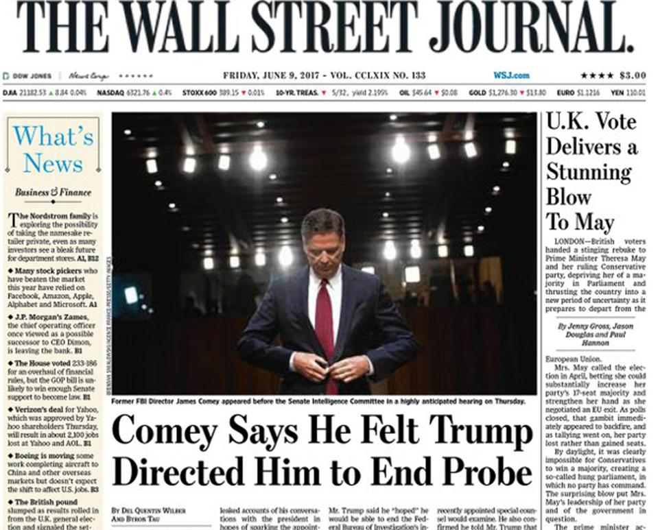 "<p>The Wall Street Journal said the vote delivered a ""stunning blow to May"" </p>"