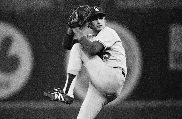 FILE - In this Oct. 4, 1978 file photo, Los Angeles Dodgers pitcher Bob Welch winds up to throw to the Philadelphia Phillies in a National League playoff game at Philadelphia. Welch, former All-Star pitcher with the Los Angeles Dodgers and the Oakland Athletics has died. The two-time All-Star and Cy Young award winner was found dead at his home in Seal Beach, Calif. He was 57. (AP Photo/Rusty Kennedy, File)