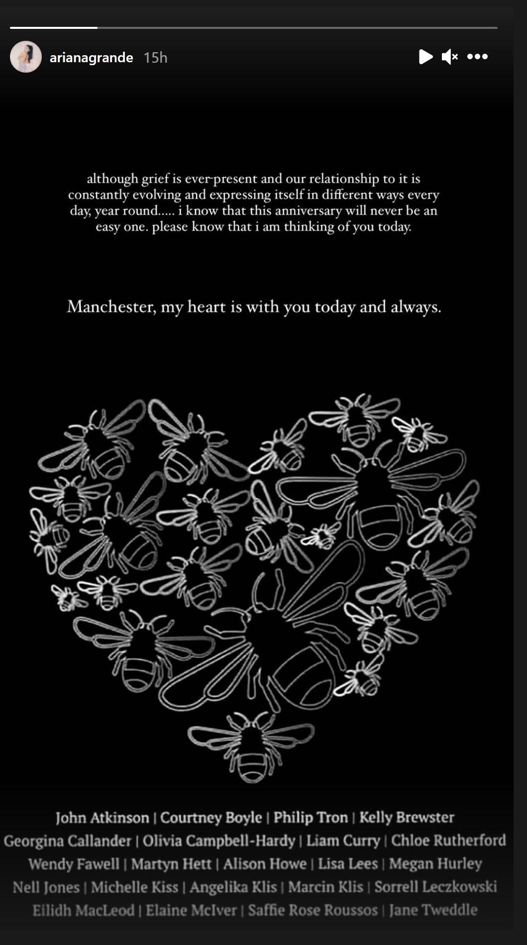 A tribute to the victims of the Manchester Arena victims on Ariana Grande's Instagram story