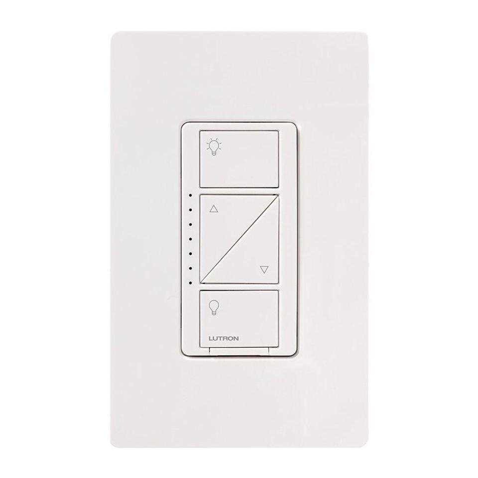 """<p><strong>Lutron</strong></p><p>amazon.com</p><p><strong>$84.00</strong></p><p><a href=""""https://www.amazon.com/dp/B00MXCRAX8?tag=syn-yahoo-20&ascsubtag=%5Bartid%7C2089.g.22594462%5Bsrc%7Cyahoo-us"""" rel=""""nofollow noopener"""" target=""""_blank"""" data-ylk=""""slk:Shop Now"""" class=""""link rapid-noclick-resp"""">Shop Now</a></p><p>The Lutron Caséta comes with a convenient remote control, is easy to install, and integrates with most major smart home services. </p><p>Although it requires a bridge (one is included in this bundle), we think it's still the best smart light switch money can buy. It's a versatile option that'll work with any setup — whether you use Apple HomeKit, an Amazon Echo, Google Home, Nest, or IFTTT. We use ours with an Echo speaker to easily turn off or dim our non-smart lights with our voice.<br></p><p>This option, which is available in <a href=""""http://www.amazon.com/dp/B00MXCRAX8/?tag=syn-yahoo-20&ascsubtag=%5Bartid%7C2089.g.22594462%5Bsrc%7Cyahoo-us"""" rel=""""nofollow noopener"""" target=""""_blank"""" data-ylk=""""slk:single-pole"""" class=""""link rapid-noclick-resp"""">single-pole</a> or <a href=""""https://www.amazon.com/Lutron-Wireless-Lighting-P-BDG-PKG1W-Assistant/dp/B07G5V6M6G/ref=dp_ob_title_hi?tag=syn-yahoo-20&ascsubtag=%5Bartid%7C2089.g.22594462%5Bsrc%7Cyahoo-us"""" rel=""""nofollow noopener"""" target=""""_blank"""" data-ylk=""""slk:three-way setups"""" class=""""link rapid-noclick-resp"""">three-way setups</a>, offers geofencing capabilities, meaning your lights can automatically turn on when you arrive, and then off when you leave your home. It can be controlled with your voice using your smart speaker, your smartphone, or its included remote. </p><p>Also, its app has """"scenes,"""" which program the lights for specific scenarios. For instance, there's a vacation scene that'll turn the lights off and on at specific times to give the appearance that you're home. Features like these make it stand out from its competitors, and make it a worthy addition in your smart home.<br></p><p><strong>Read More: </strong><a """